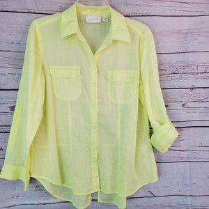 Chico's Cotton Top Bright Yellow Roll Tab 1